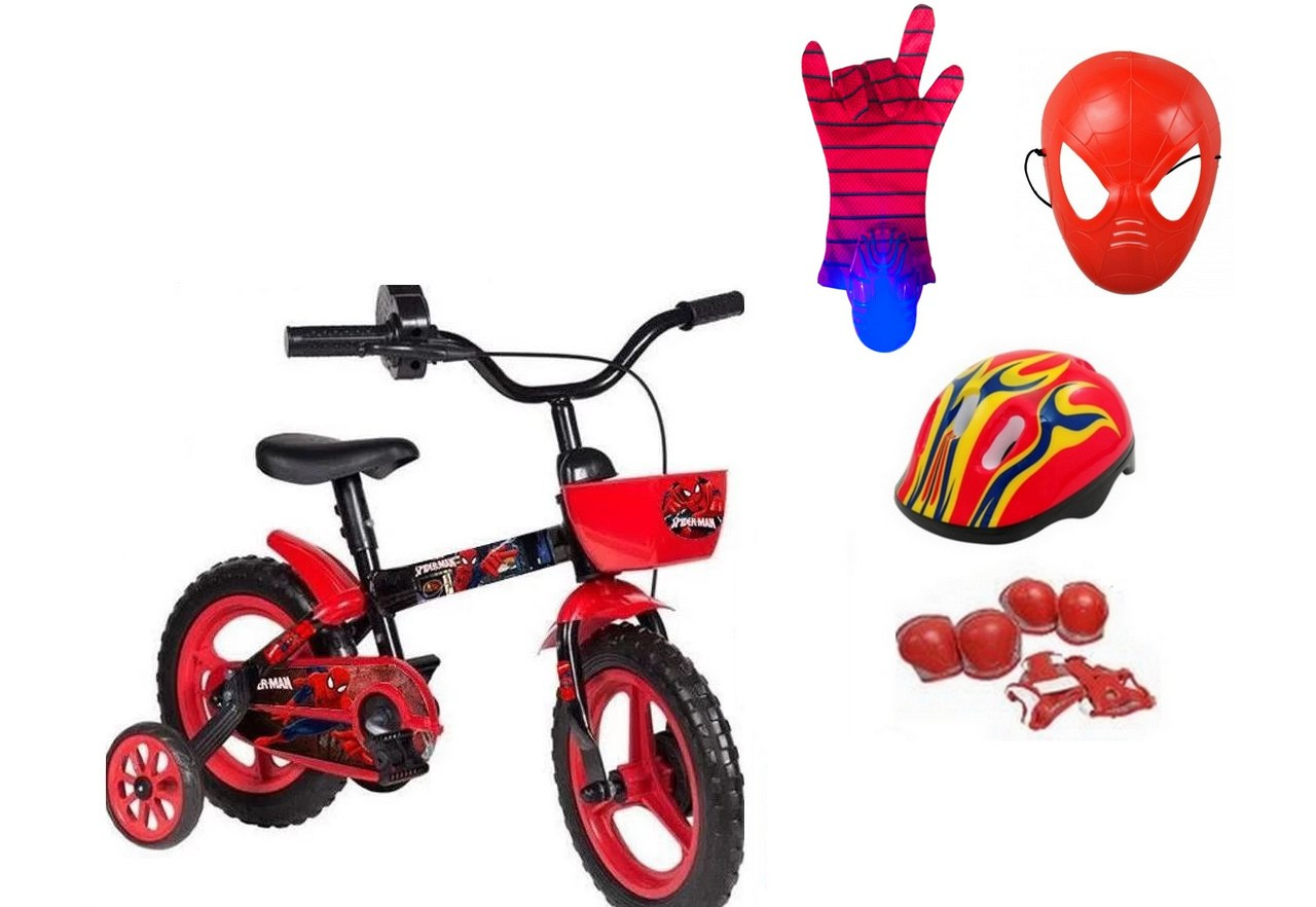 Bicicleta Homem Aranha Aro 12 com 4 itens