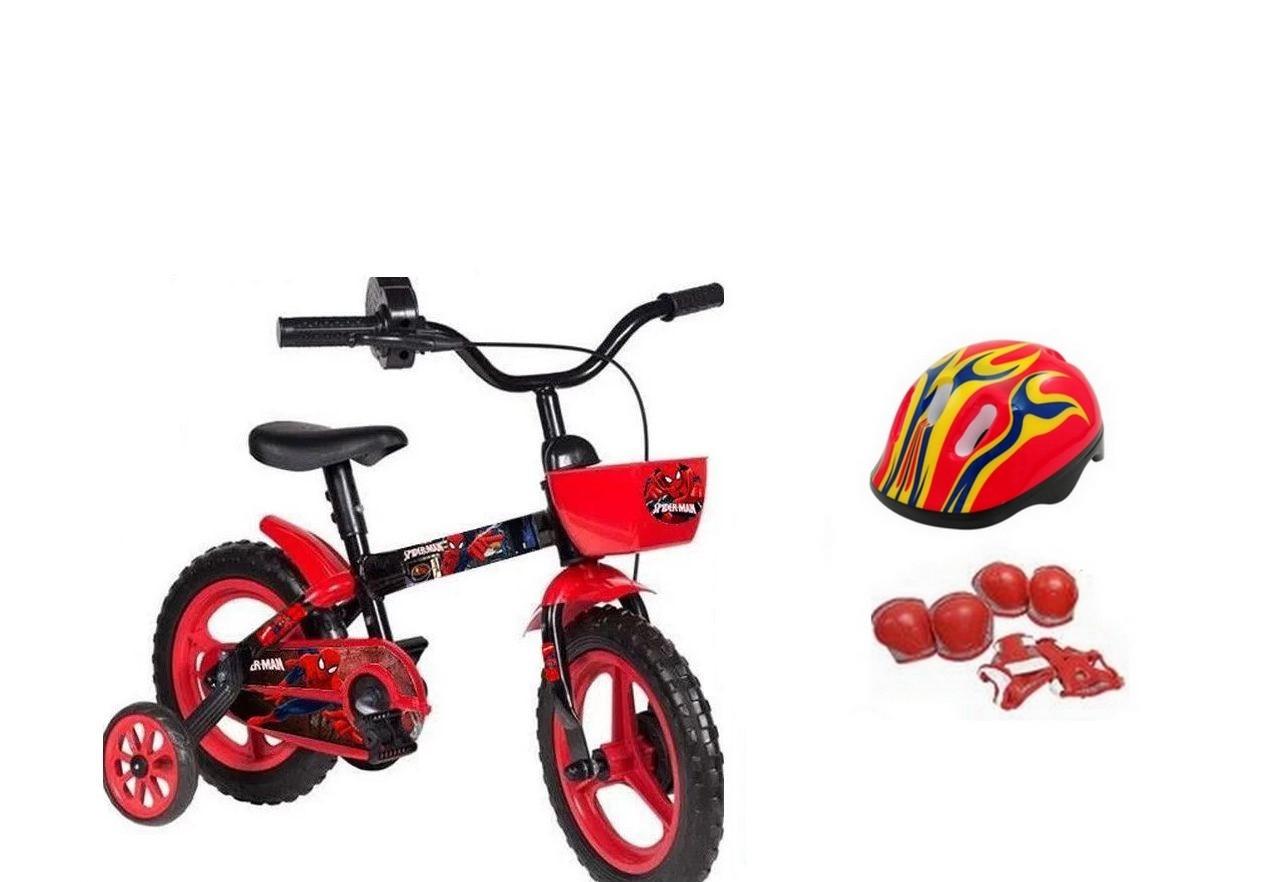 Bicicleta Homem Aranha Aro 12 com Capacete e Proteção