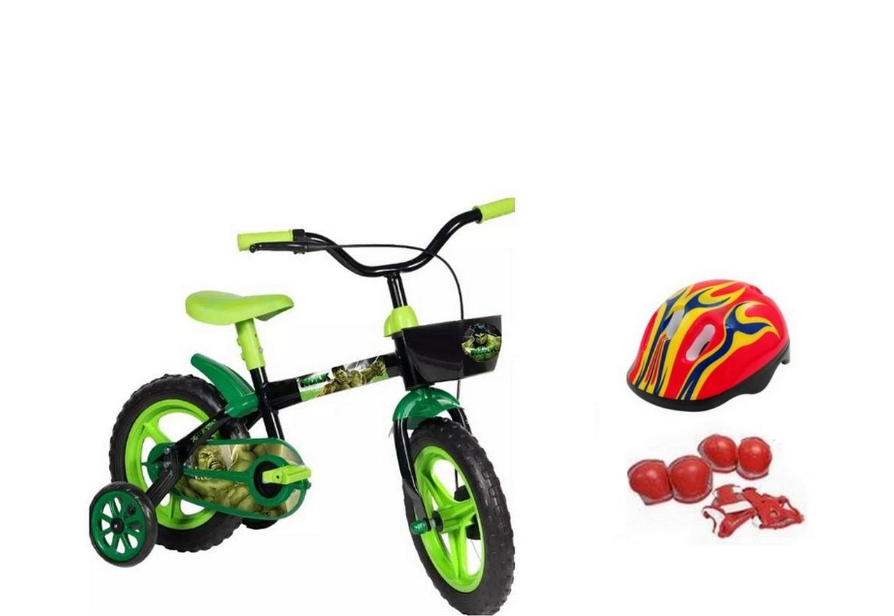 Bicicleta Hulk Aro 12 com Capacete e Proteção
