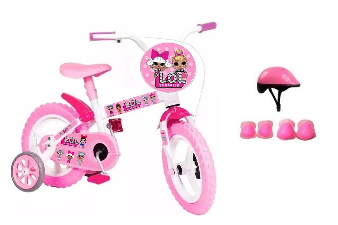 Bicicleta LoL Surprise Aro 12 com Capacete e Proteção