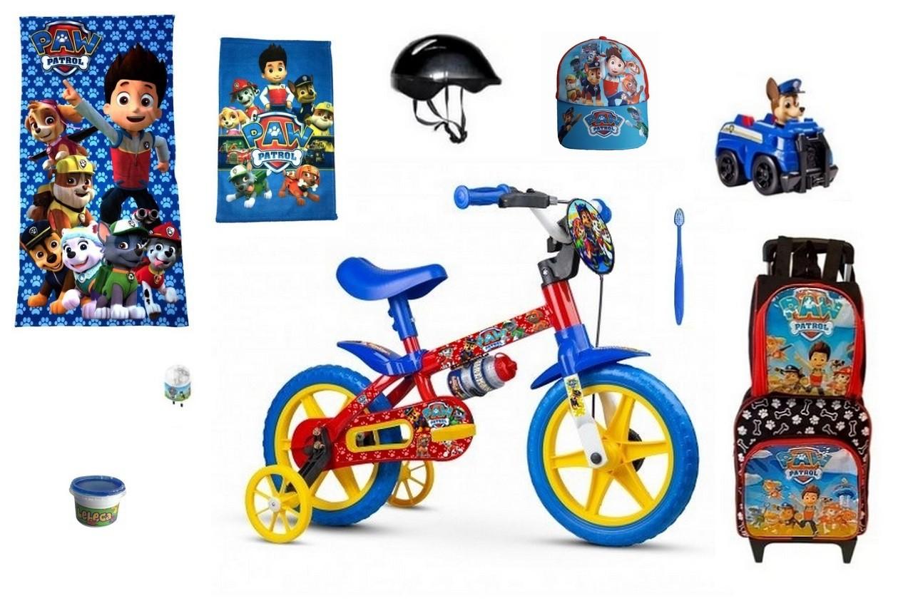Bicicleta Patrulha Canina Aro 12 com 11 itens PP