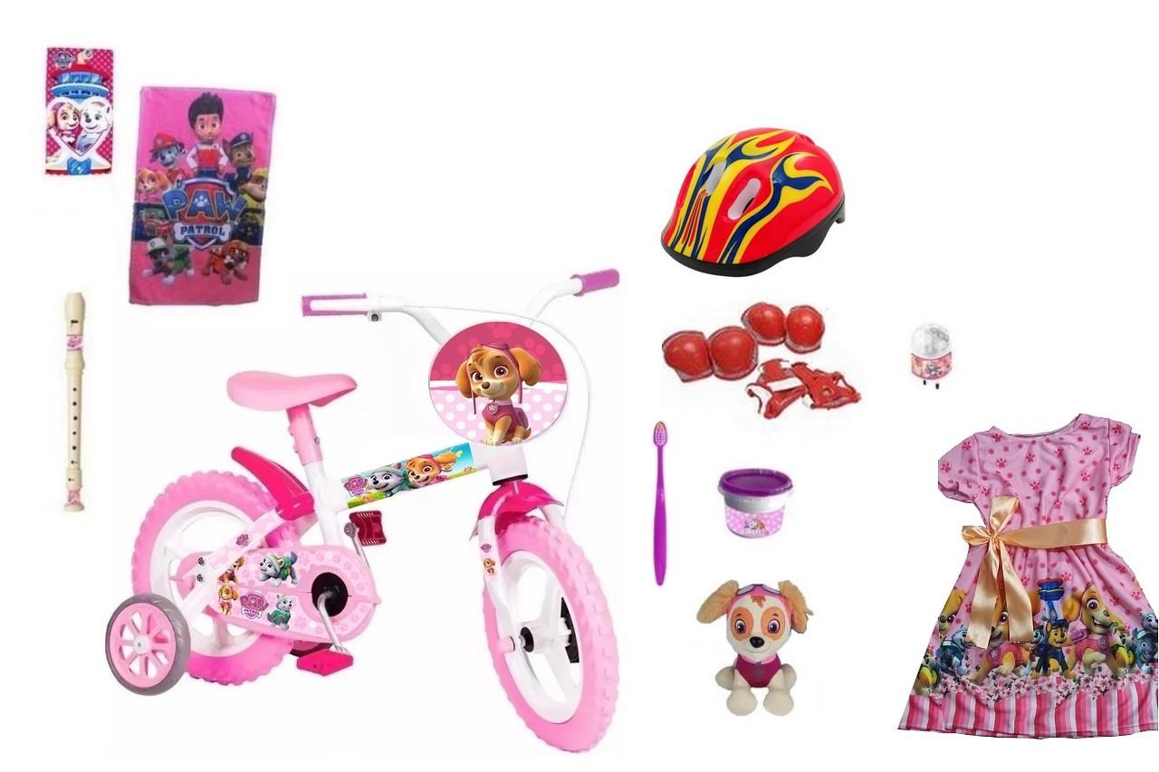 Bicicleta Patrulha Canina Feminina com 10 itens
