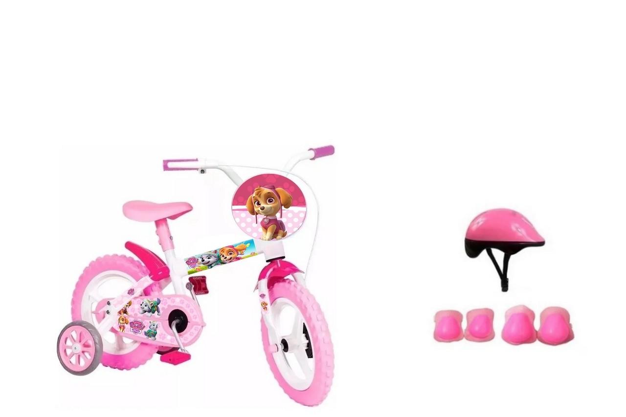 Bicicleta Patrulha Canina Skye Aro 12 com Capacete e Proteção