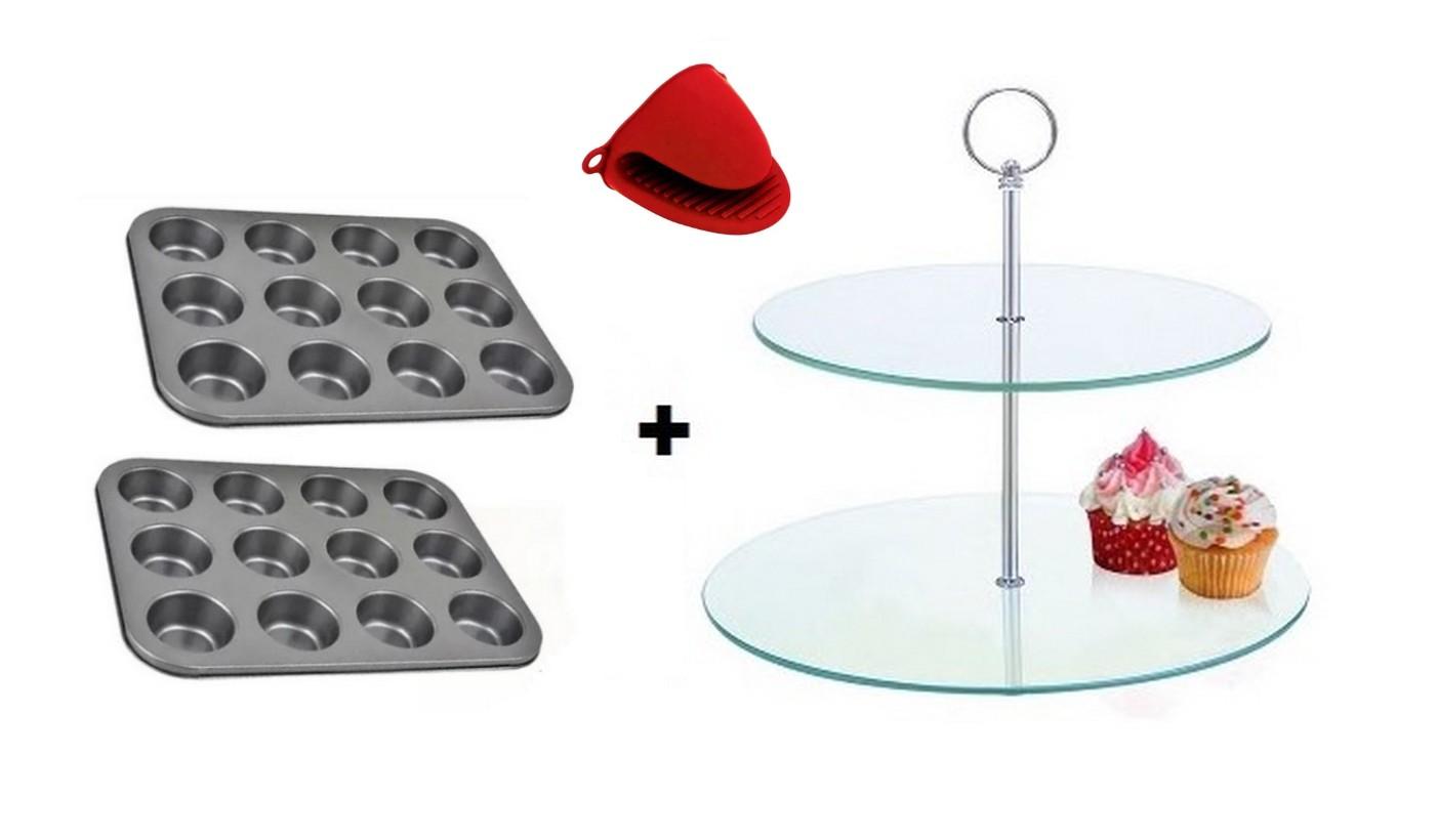 Conjunto 02 formas de Cupcake 12 cavidades + Suporte para Cupcake +  Protetor de Silicone