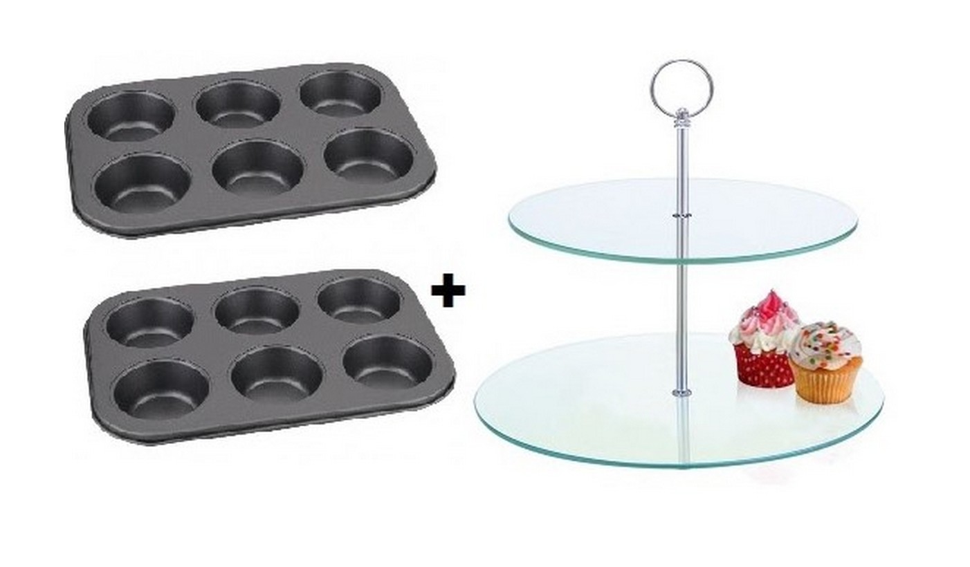 Conjunto 02 formas de Cupcake 6 cavidades + Suporte para Cupcake