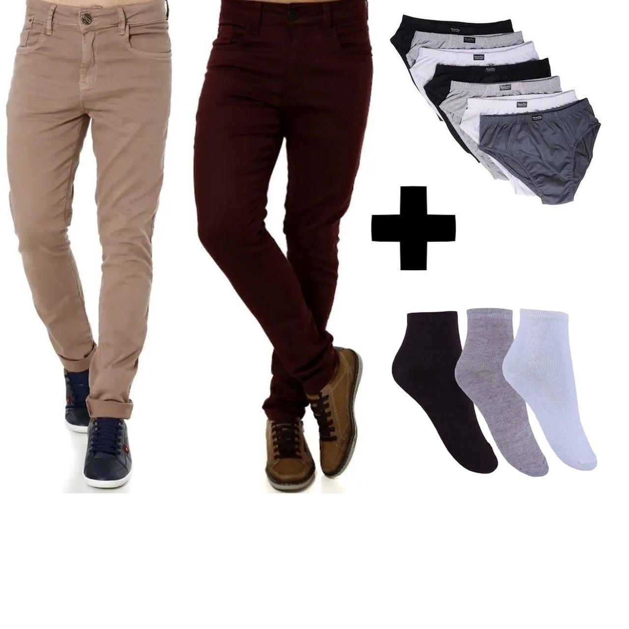 Kit Conjunto  2 Calças Masculinas + 6 Pares de Meia + Cuecas Slip