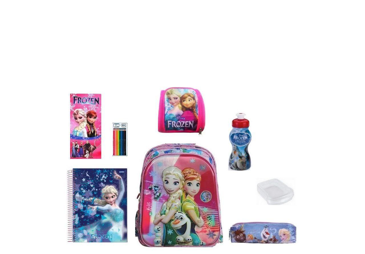 Mochila Escolar Frozen com 8 itens inclusos