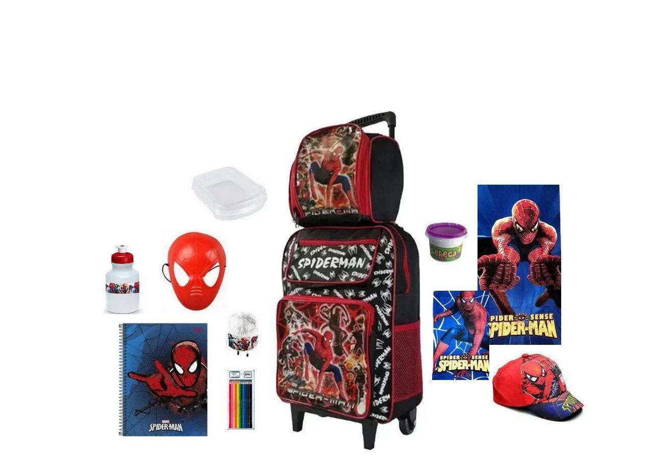 Mochila Escolar Homem Aranha com 12 itens inclusos