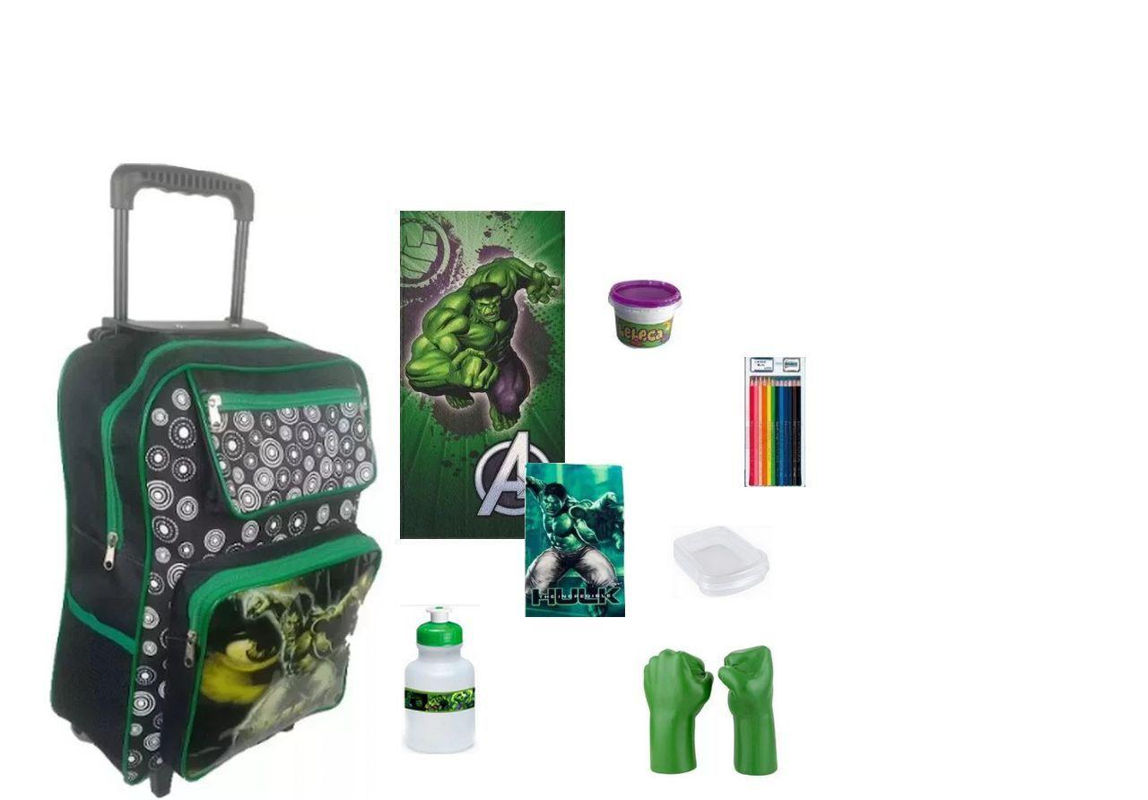 Mochila Escolar Hulk 8 itens