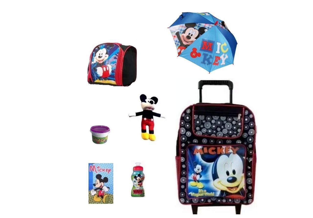Mochila Escolar Mickey 7 itens