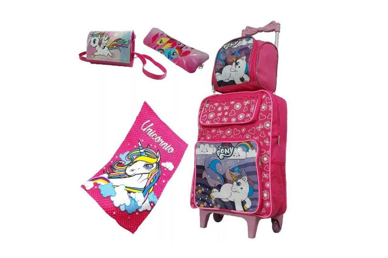 Mochila My Little Pony c/ Lancheira, toalha, estojo e bolsinha