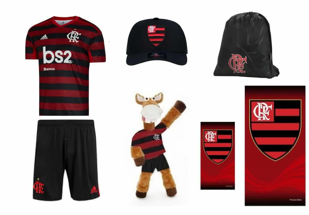 Combo Time - Uniforme e acessórios Flamengo  7 itens