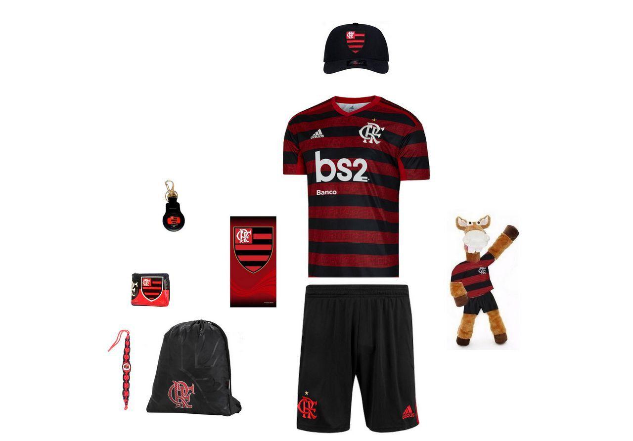 Combo Time - Uniforme e acessórios Flamengo 9 itens