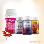 Combo Fitoway  - Gojiberry + Hair + Guarana 4x + Colágeno em pó + Brinde Camiseta e Coqueteleira Fitoway
