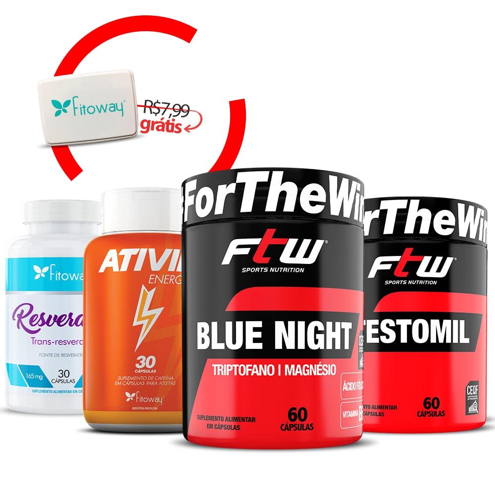 Ativil Energy 30 Cáps + Testomil 60 Cáps + Resveratrol 30 Cáps + Blue Night FTW 60 Cáps  + Brinde Porta Cápsulas - mm1
