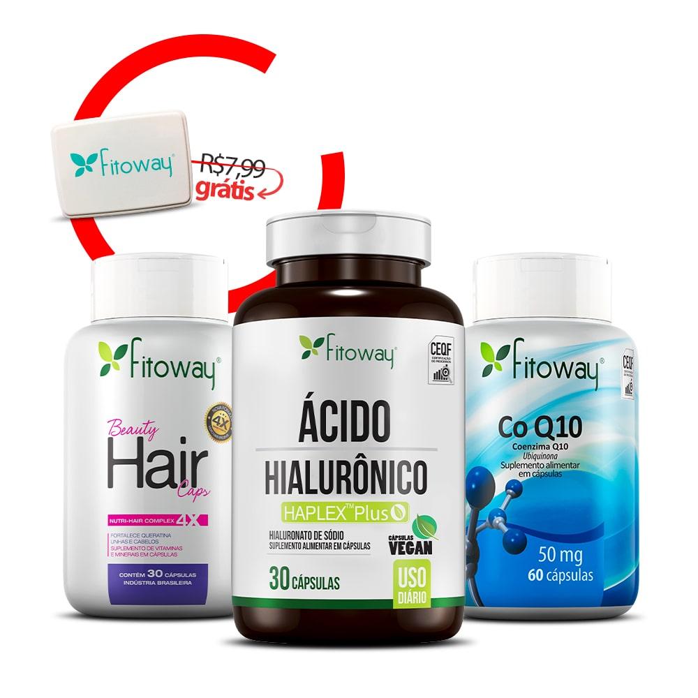 Beauty Hair 30 Cáps + Ácido Hialurônico 30 Cáps + Coenzima Q10 + Brinde Porta Cápsulas -  qq1
