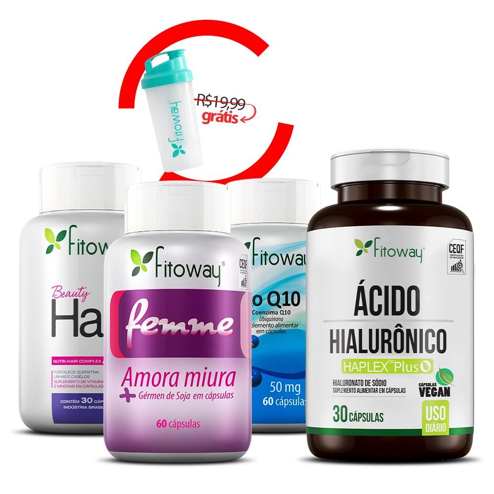 Beauty Hair 30 Cáps + Ácido Hialurônico 30 Cáps + Coenzima Q10 + Femme  + Brinde Porta Coqueteleira Fitoway  -  qq1