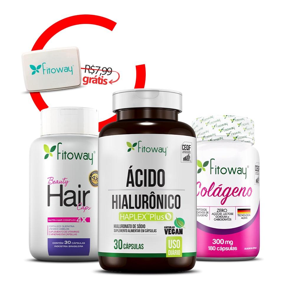 Beauty Hair 30 Cáps + Ácido Hialurônico 30 Cáps + Colágeno 180 Cáps + Brinde Porta Cápsulas -  qq1
