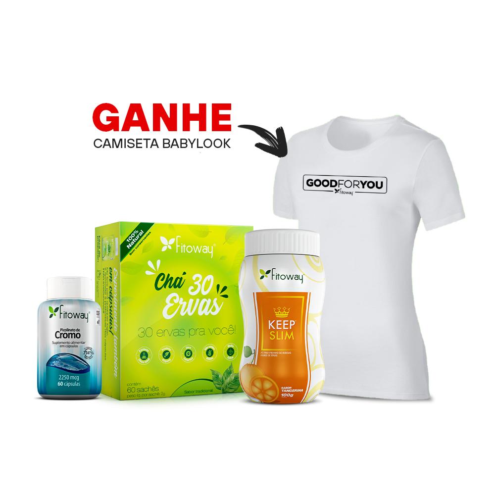 Chá 30 Ervas 60 sachês + Chá Keep Slim 100g + Picolinato de Cromo 60 cáps + Brinde Camiseta