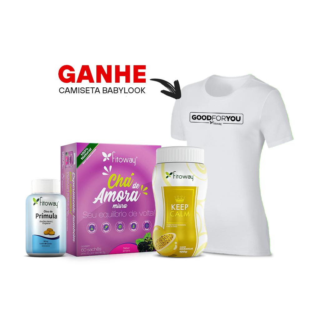 Chá de amora 60 sachês + Chá Keep Calm Maracujá 100g + Óleo de Prímula 60 cáps + Brinde Camiseta