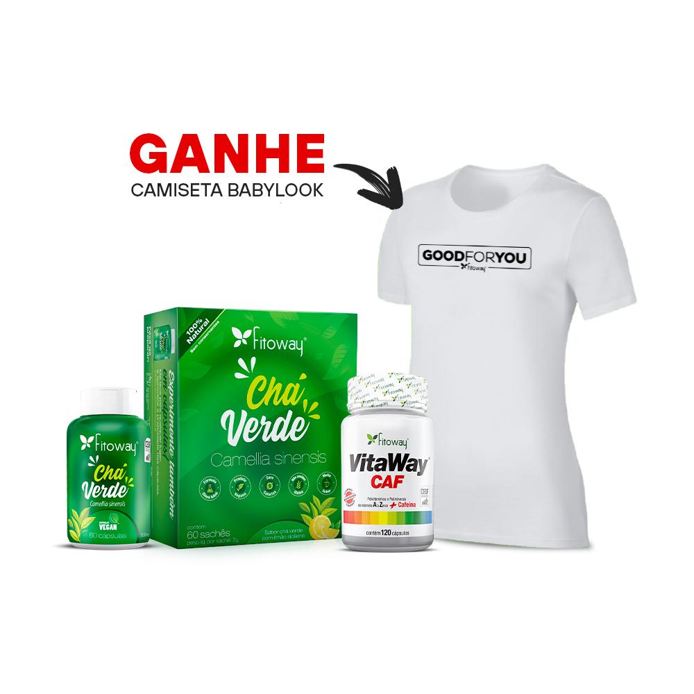 Chá Verde 60 Cáps + Vitaway Caf + Chá Verde 60 sachês + Brinde Camiseta