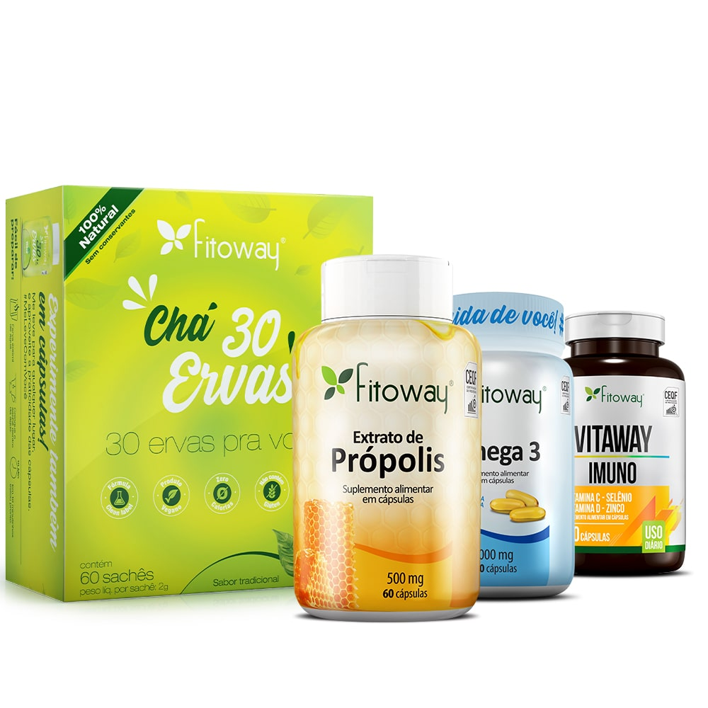 Chá Verde 60 Cáps + Vitaway Imuno 60 Cáps + Própolis 60 Cáps + Ômega 3 120 Cáps - pp1