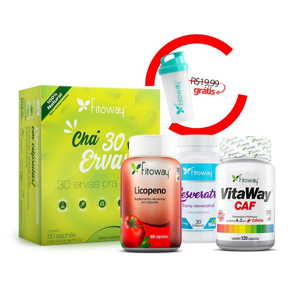 Chá Verde 60 Sachês + Resveratrol 30 Cáps + Vitaway Caf  120 Cáps + Licopeno 60 Cáps + Brinde Coqueteleira - oo1