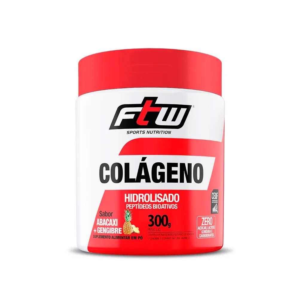 Colágeno Hidrolisado em Pó 300g Sabor Abacaxi com Gengibre - FTW