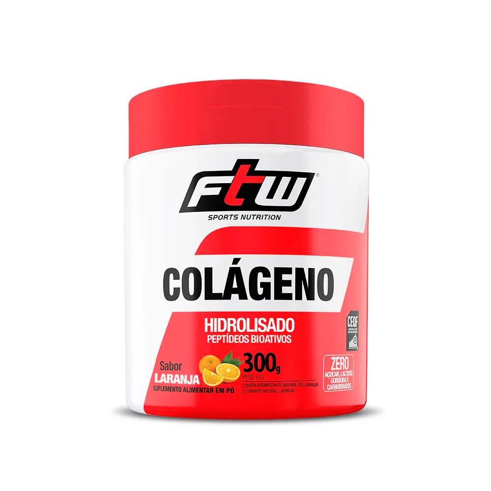 Colágeno Hidrolisado em Pó 300g Sabor Laranja - FTW