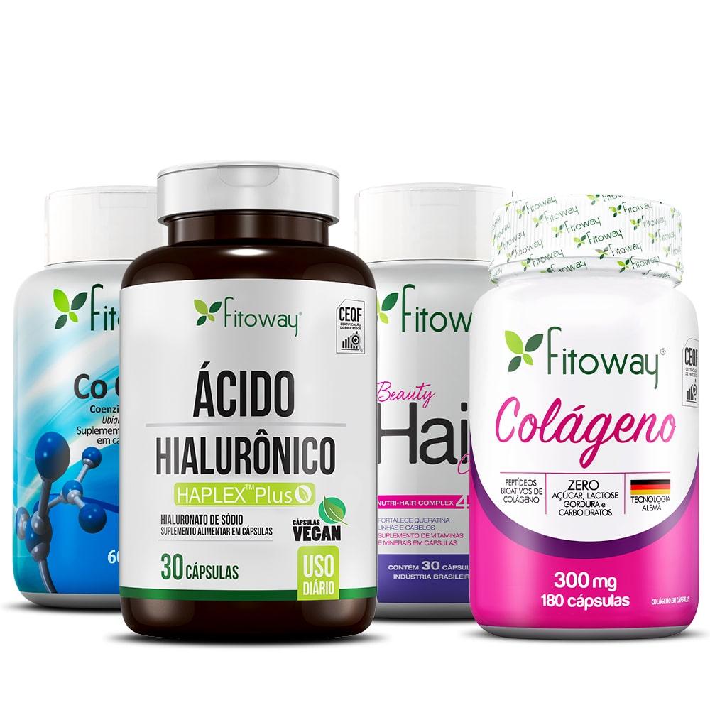 Colágeno Fitoway 180 Cáps + Ácido Hialurônico 30 Cáps + Coenzima Q10 + BeautyHair 30 Cáps - xx1