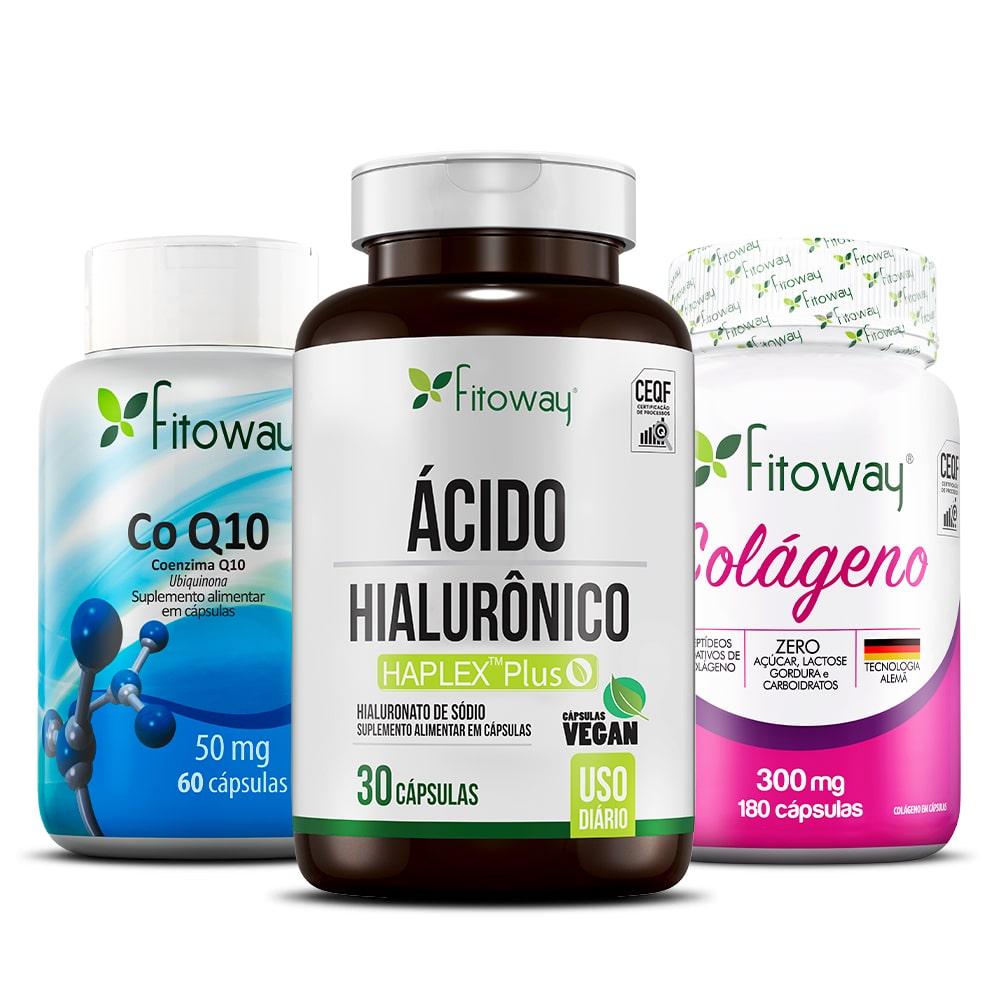 Colágeno Fitoway 180 Cáps + Ácido Hialurônico 30 Cáps + Coenzima Q10 + Cellufim 60 Cáps + Vitamina C 60 Cáps - xx1