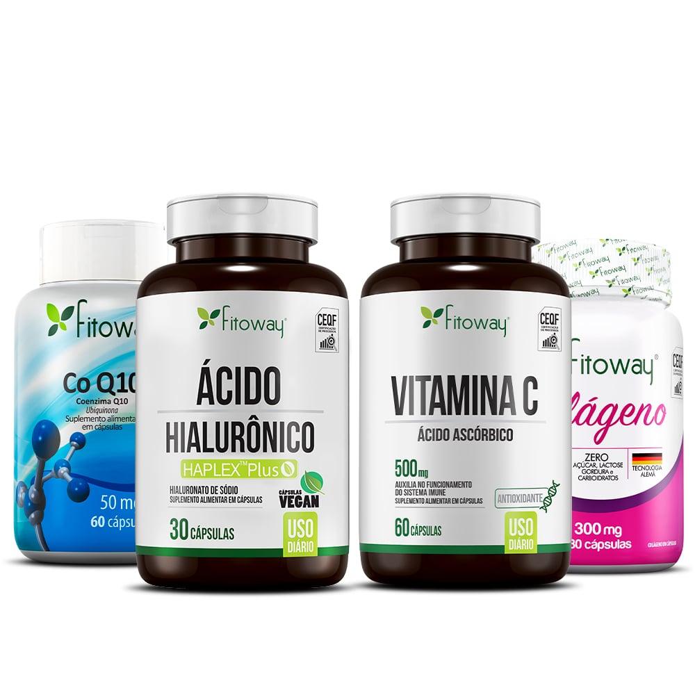 Colágeno Fitoway 180 Cáps + Ácido Hialurônico 30 Cáps + Coenzima Q10 + xx1