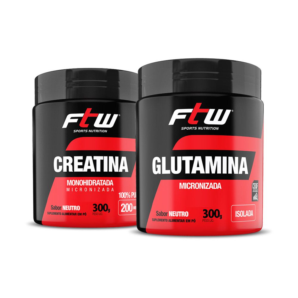 Kit Creatina 300g + Glutamina 300g - FTW