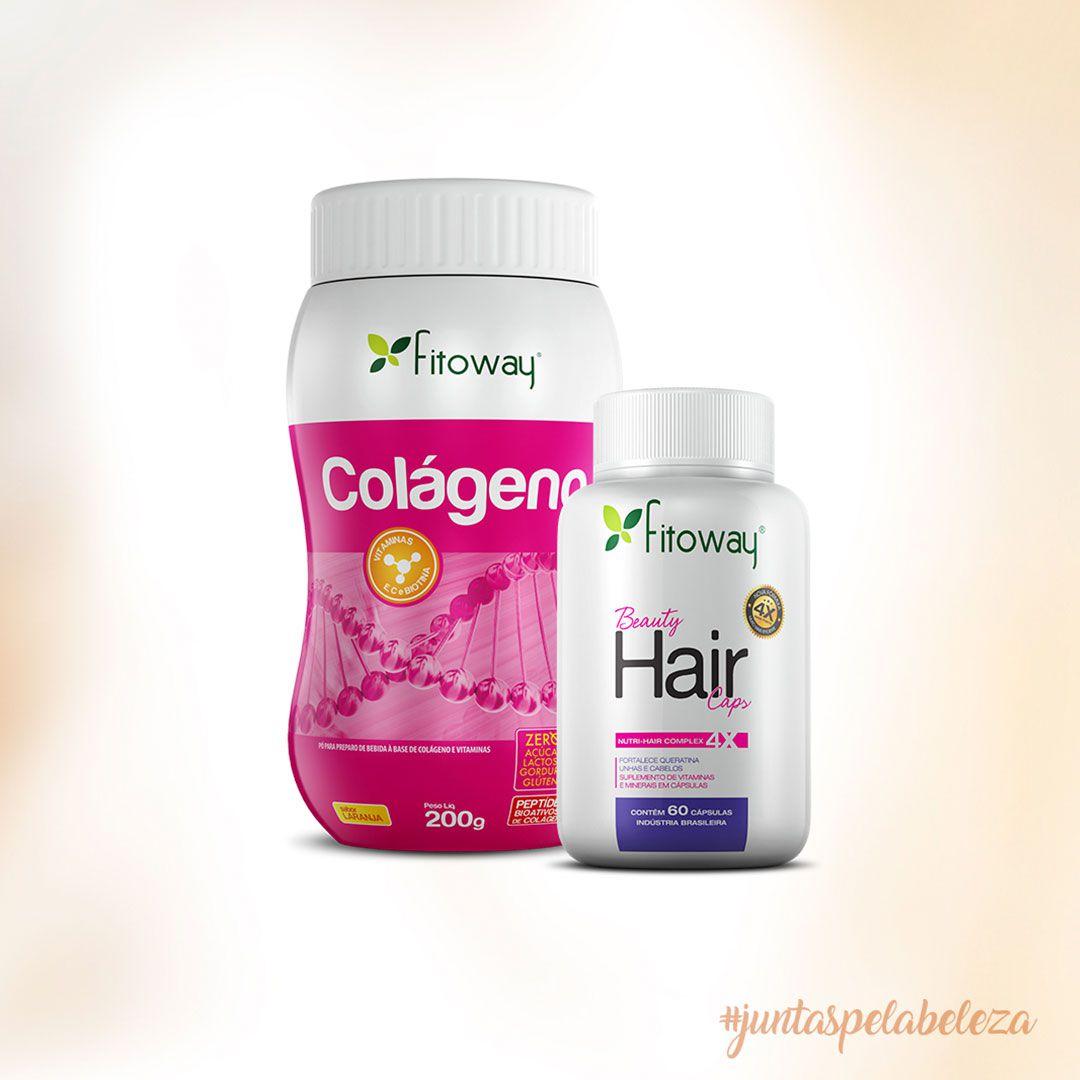 Combo Fitoway - Colágeno + Hair + Brinde coqueteleira  - Loja FTW