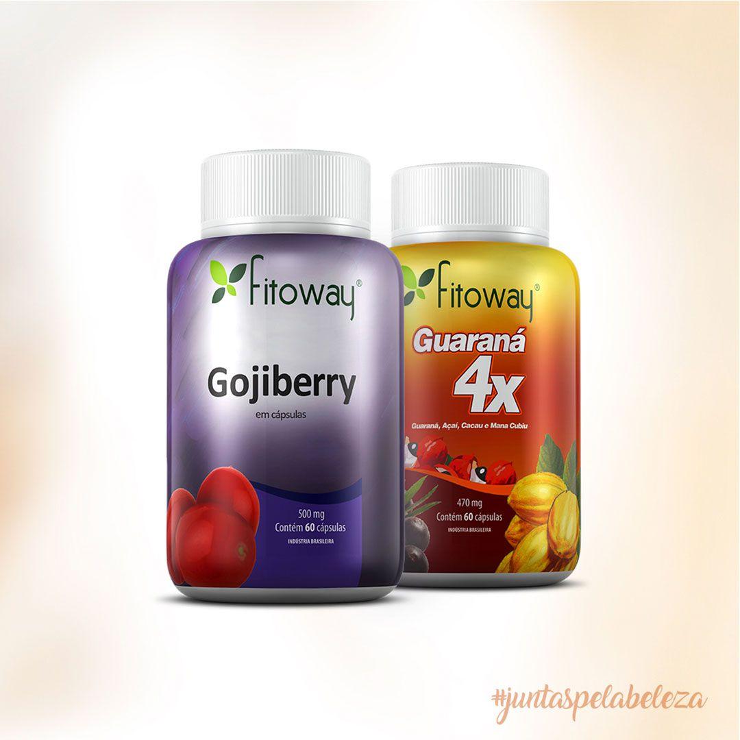 Combo Fitoway - Gojiberry + Guaraná 4x + Brinde Coqueteleira  - Loja FTW