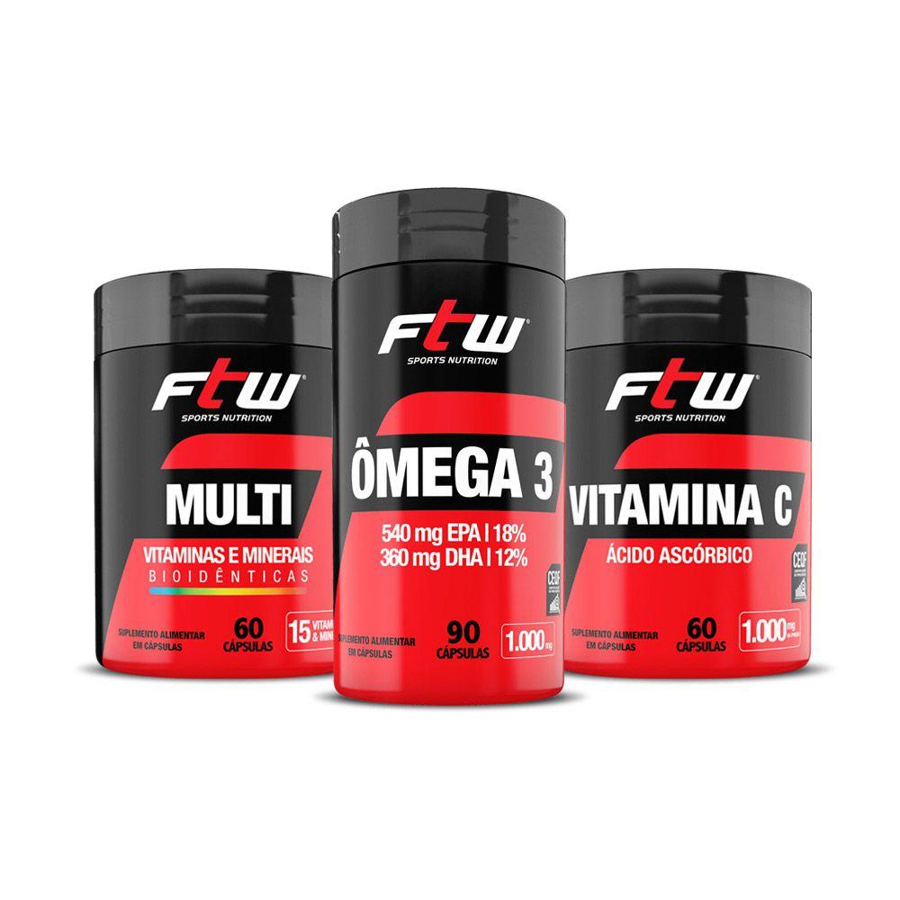 Kit - Ômega3 90 cáps + Vitamina C 60 cáps  + Multi Vitaminas 60 cápsulas - FTW