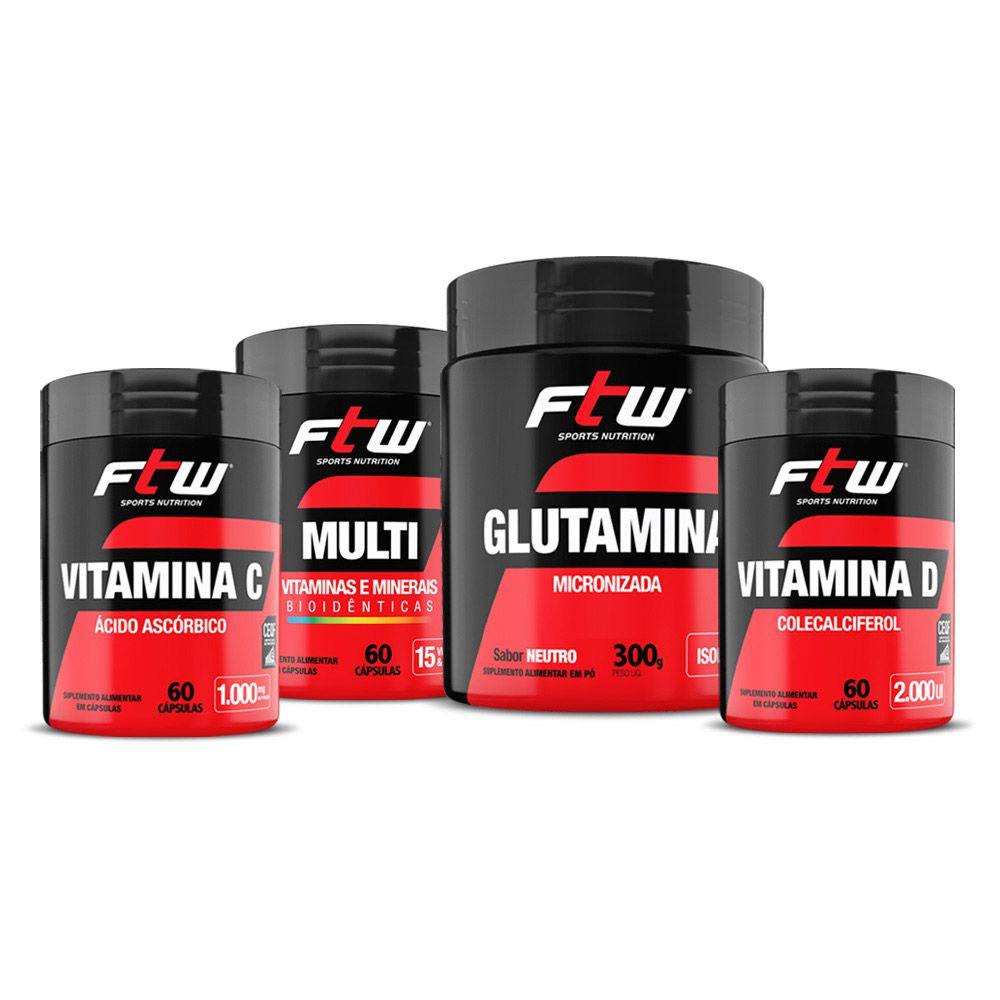 Kit Vitamina C 60 cáps + Multi Vitaminas 60 cáps + Glutamina 300g + Vitamina D 60 cáps - FTW