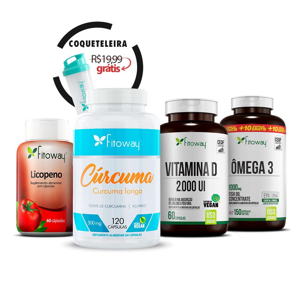 Cúrcuma 120 Cáps + Ômega 3 150 Cáps + Vitamina D 100 Cáps + Licopeno 60 Cáps + Brinde Coqueteleira - ss1