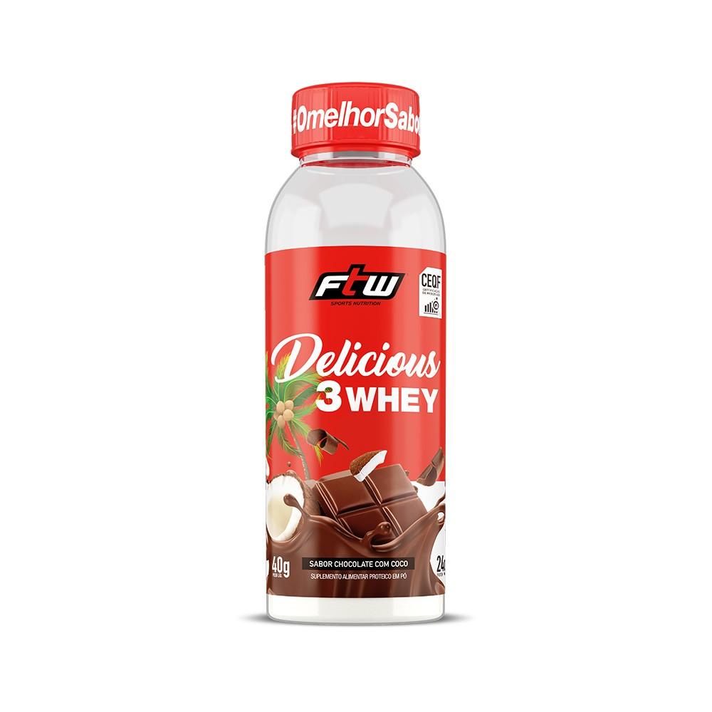 Delicious 3 Whey Chocolate Com Coco Dose Única 40g - FTW