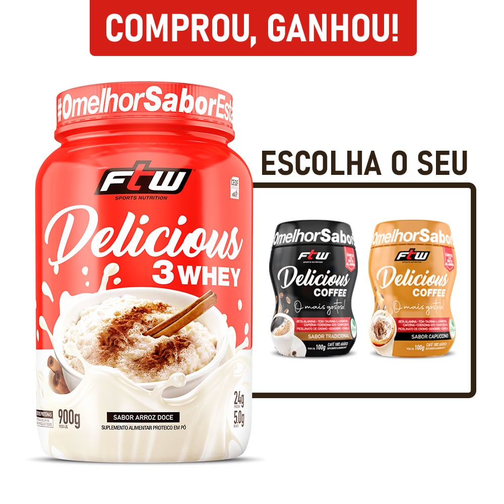 Delicious 3Whey Arroz Doce 900g - FTW