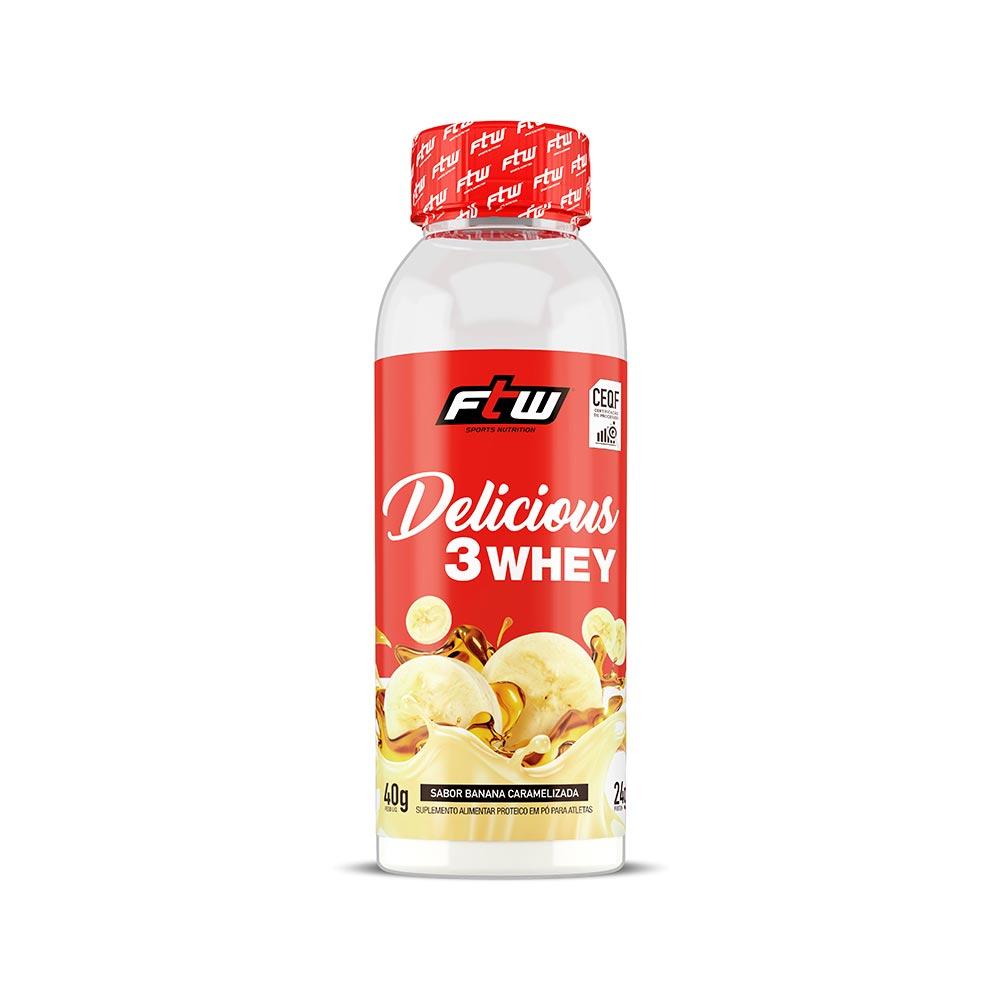 Delicious 3 Whey Banana Caramelizada Dose Única 40g  - FTW