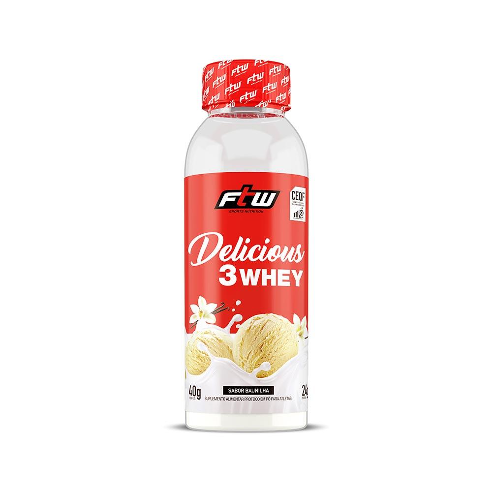 Delicious 3 Whey Baunilha Dose Única 40g - FTW