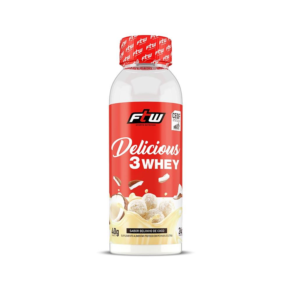 Delicious 3 Whey Beijinho de Coco Dose Única 40g  - FTW