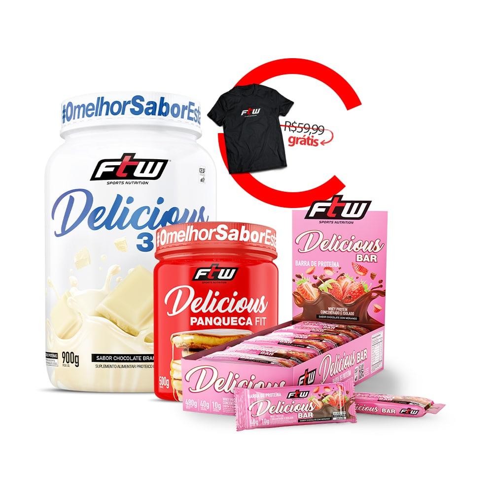 Delicious 3Whey Chocolate Branco 900g  + Delicious Panqueca Fit 500g + Delicious Bar 12 un + Brinde Camiseta FTW - cc3