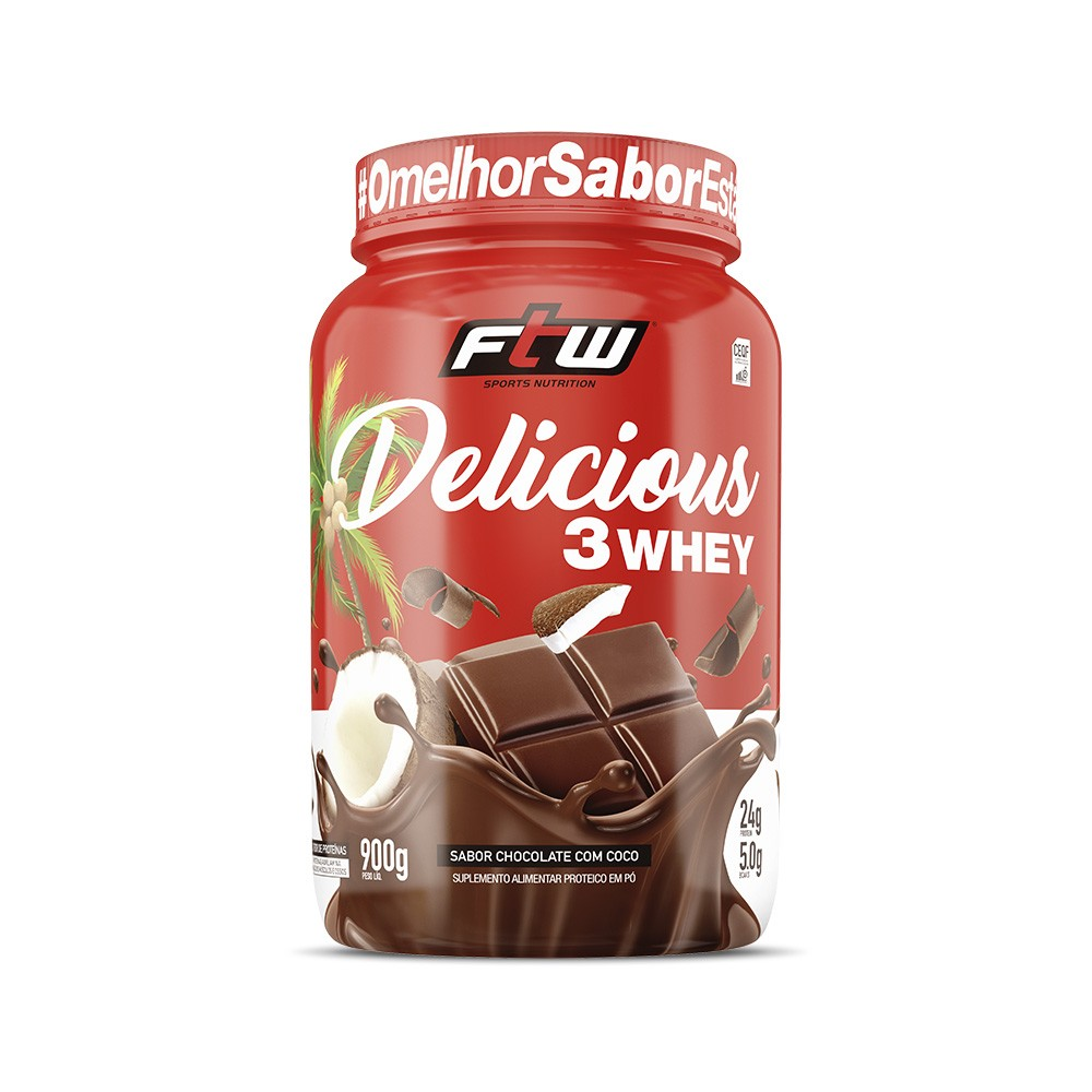 Delicious 3Whey Chocolate com Coco 900g - FTW