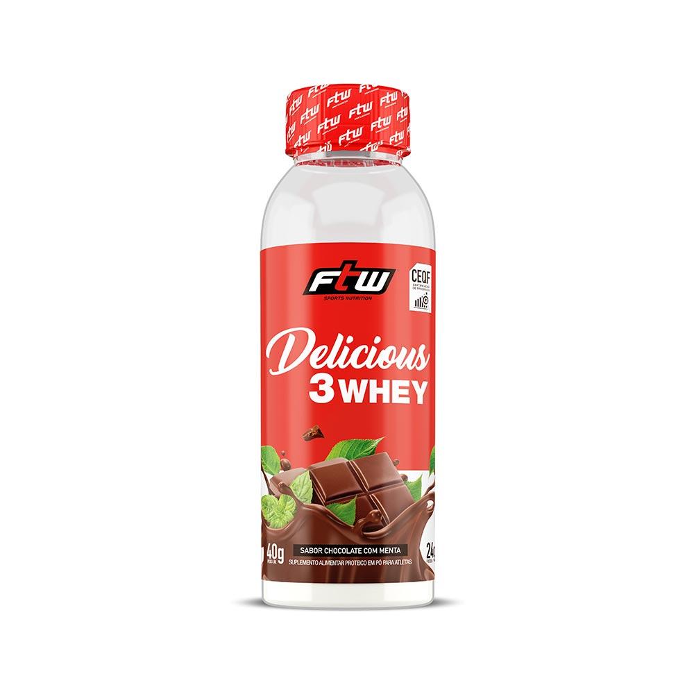 Delicious 3Whey Chocolate Com Menta Dose Única 40g - FTW