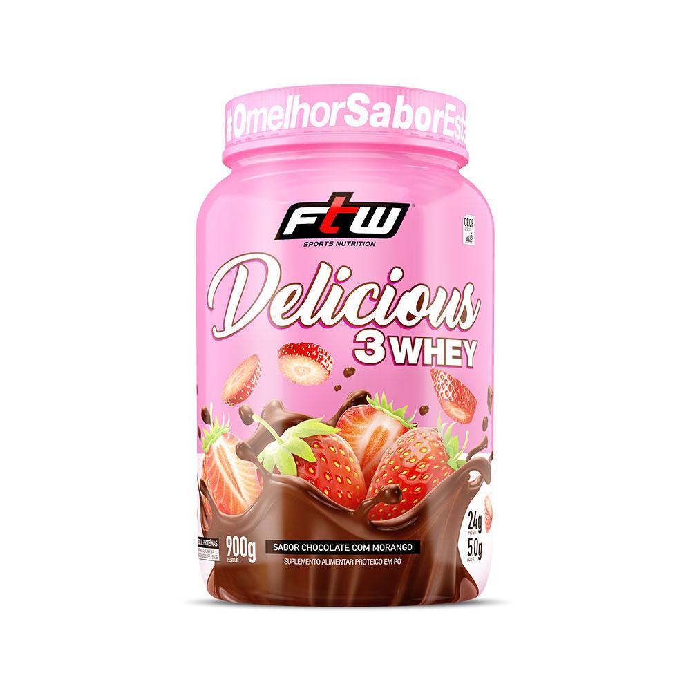 Delicious 3Whey Chocolate com Morango 900g - FTW