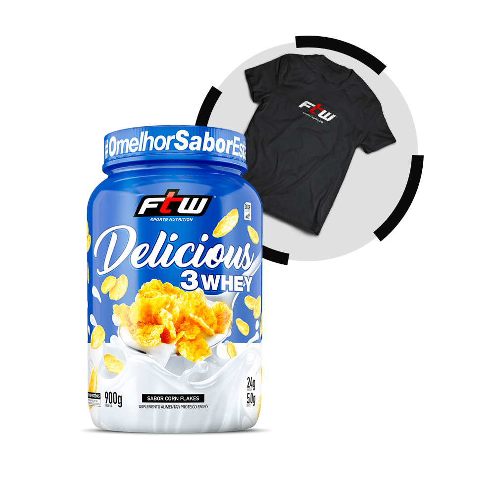 Delicious 3Whey Corn Flakes 900g - Brinde Camiseta FTW