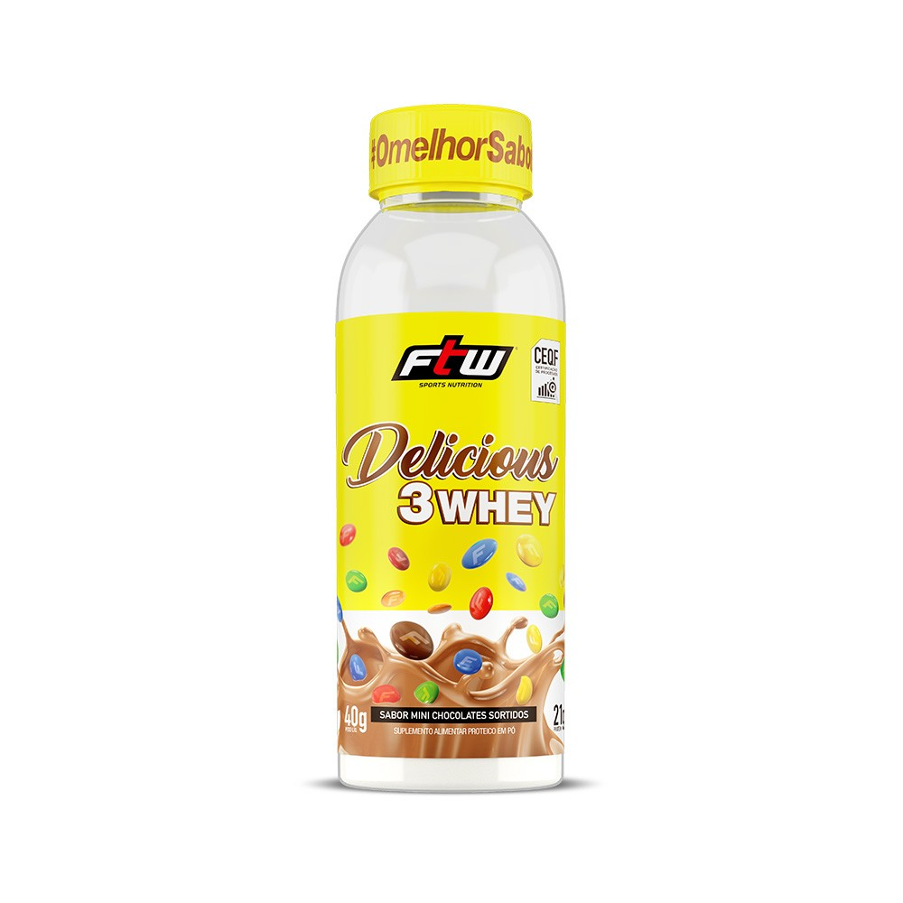 Delicious 3Whey Mini Chocolates Sortidos Dose Única 40g - FTW