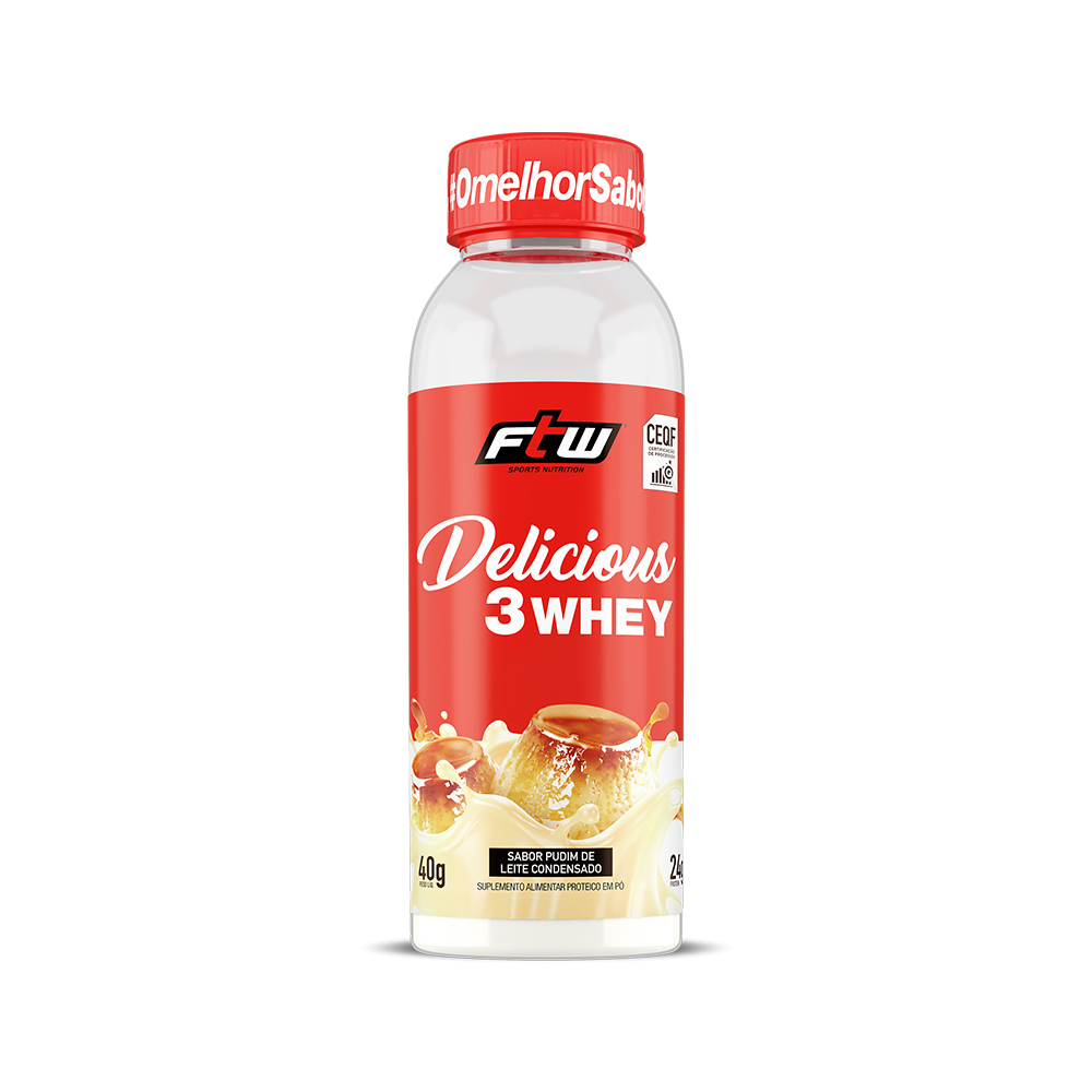 Delicious 3Whey Pudim de Leite Condensado Dose Única 40g - FTW